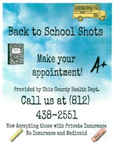 Scheduling Back to School Vaccines @ Ohio County Health Department   Rising Sun   Indiana   United States